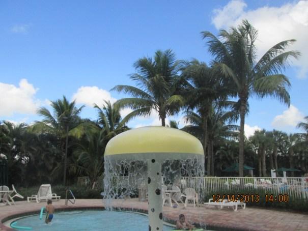 Kiddie pool with fun mushroom waterfall.
