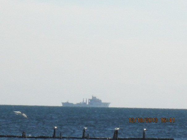 Big ship off shore.