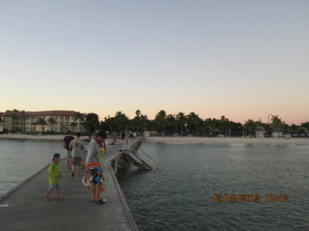 Lots of folks out on the pier to watch the sun set.