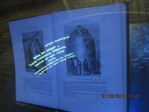 Jules Verne book on display.