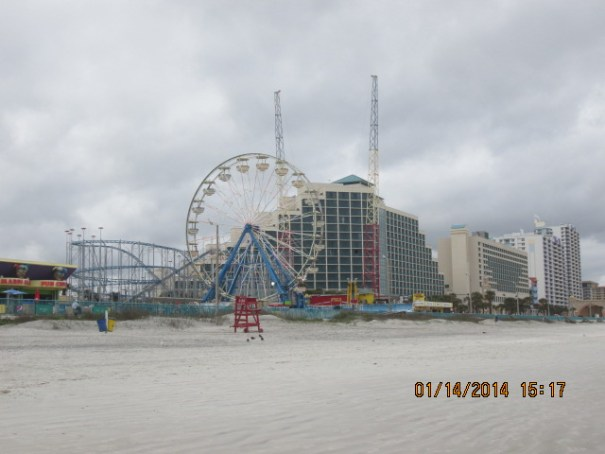 Roller coaster, Ferris wheel and human sling shot.  Our favorite, Ocean Walk on far right.