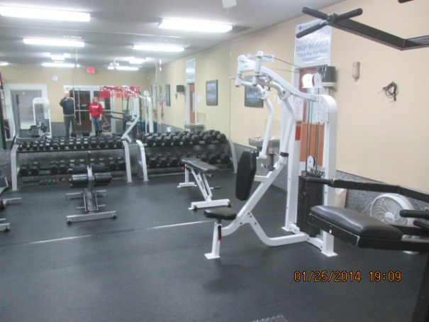 Lots of equipment in the workout room.