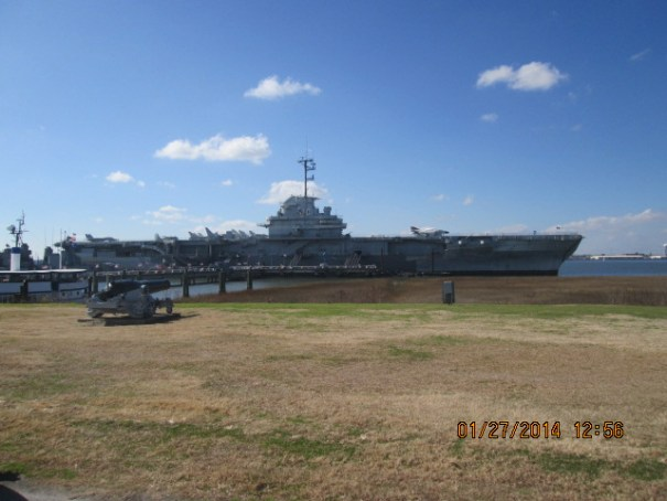 The USS Yorktown is moored here and available for tours.