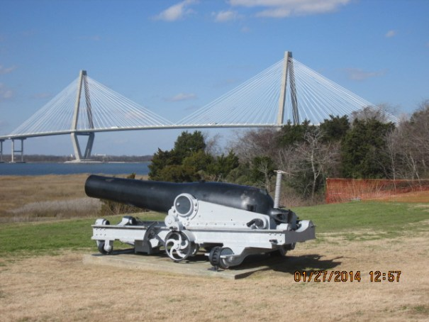 The first of many cannons to be seen today.  The bridge in the background is a joy to look upon.