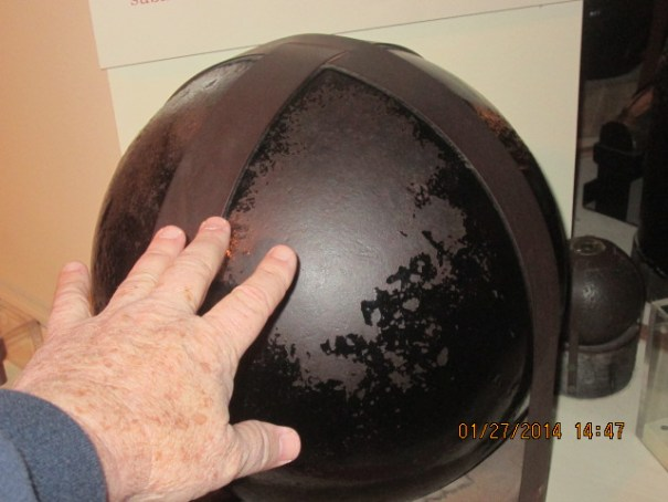 I didn't touch it, just put my mitt there for scale, a big cannonball.