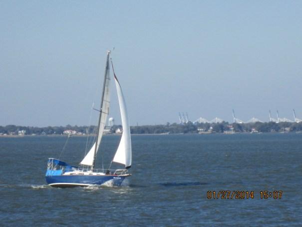 Nice sail boat near us on the way back.