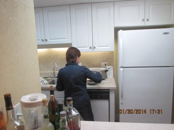 Caron making coleslaw.