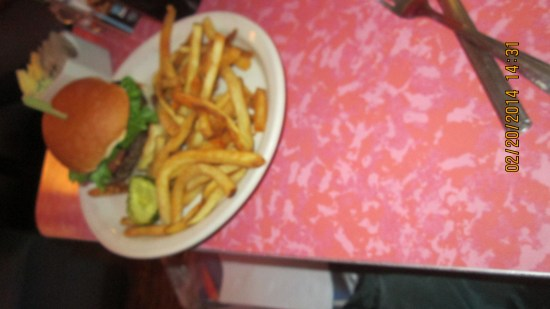 Edie's burger and fries.