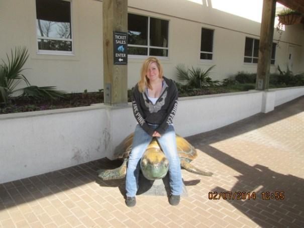 Lex on a turtle.