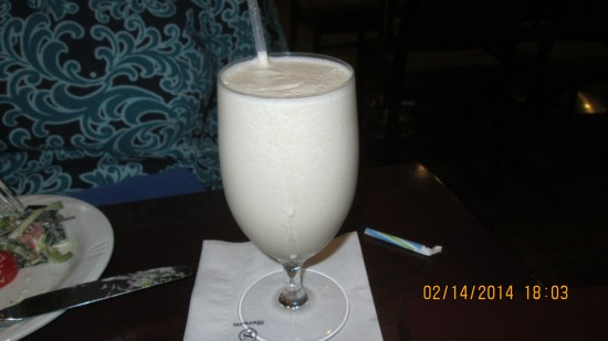 Edie's mudslide $8.  Damn gout, no alcohol for me.