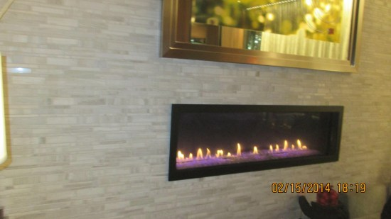 Fireplace in the lobby.  A warm welcome for our return.