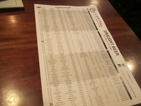 Beer menu.