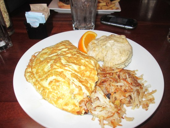 Crab omelette, hash browns and dill biscuit..