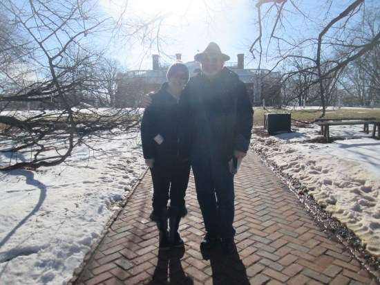 Grumpy and pretty woman in front of Monticello.