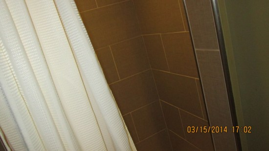Star's shower off the green room.  Looks like it would be real awkward showering there.