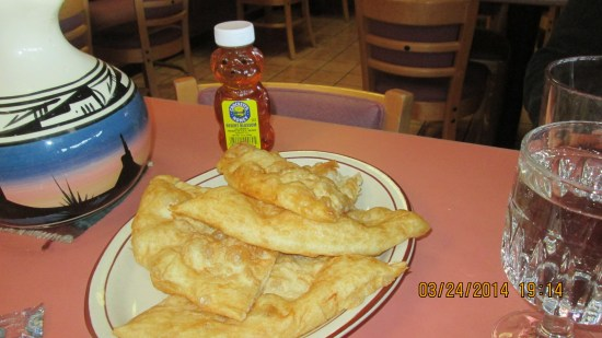 We had Navajo fry bread with honey as an appetizer.