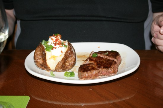 A 5 ounce filet with a baked potato, excellent all.