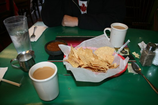 Chips, salsa and coffee.