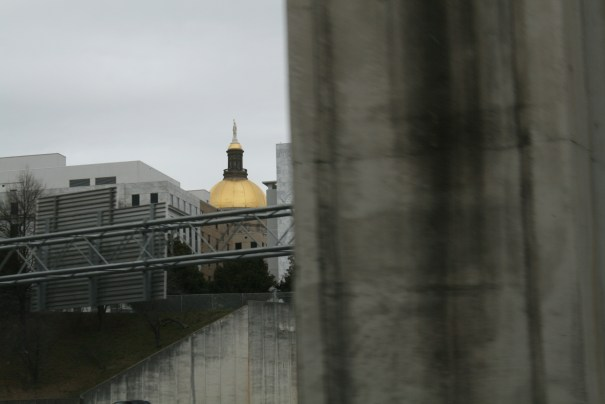A glimpse of the State Capital building.