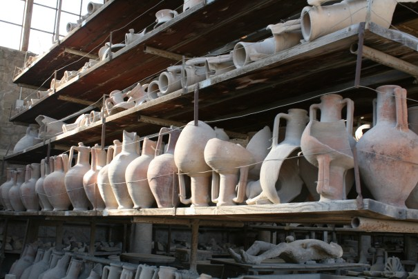 Plaster cast of body cavity among the vases.