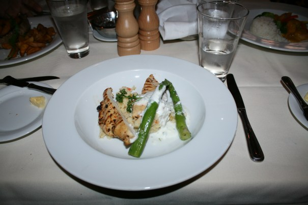 I whined, but my stuffed chicken breast was excellent.