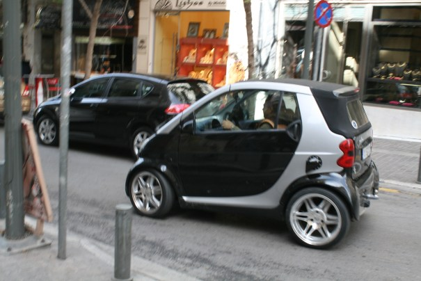 Smart car looks just right here with the narrow streets.