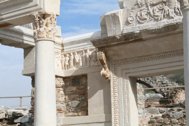 Corinthian capital and a story of the founding of Ephesus on the relief with all the human figures, although the founding myth involves a fish, a boar and a man.