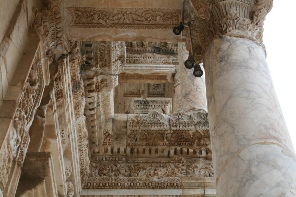Looking up at the front ceiling at the Library of Celsus.  It has been pieced back together by Austrian and Turkish archaeologist.
