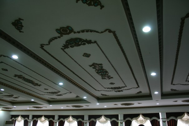 Interestingly decorated ceiling.