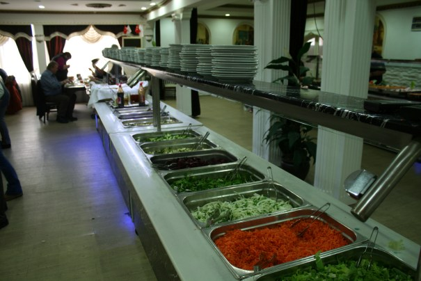 One of two buffet lines.