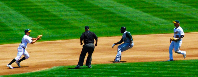 Image result for a baseball run down