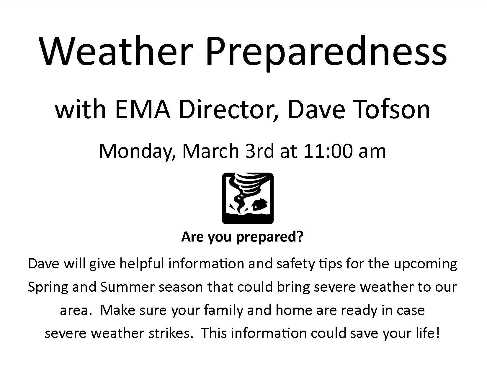 Are you prepared for the possibility of severe weather