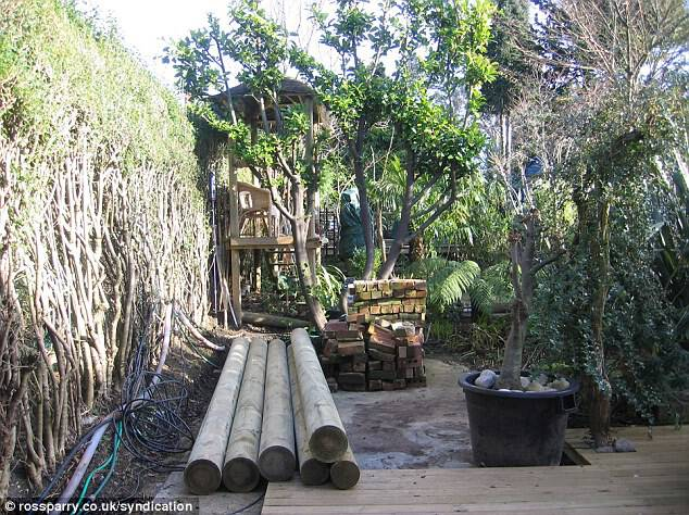 Transformation: The keen gardener used wooden blanks and poles to give his paradise an authentic jungle feel