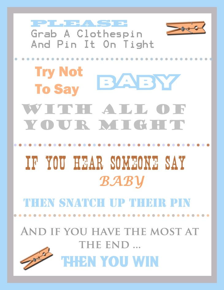 Download the free boy themed printable clothespin baby shower template
