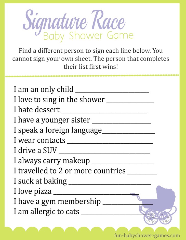 Free Printable Signature Race Game. fun baby shower icebreaker that asks  weird, random questions to get people to mingle