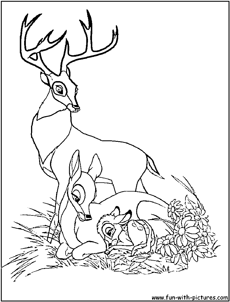 Bambi Family Coloring Page