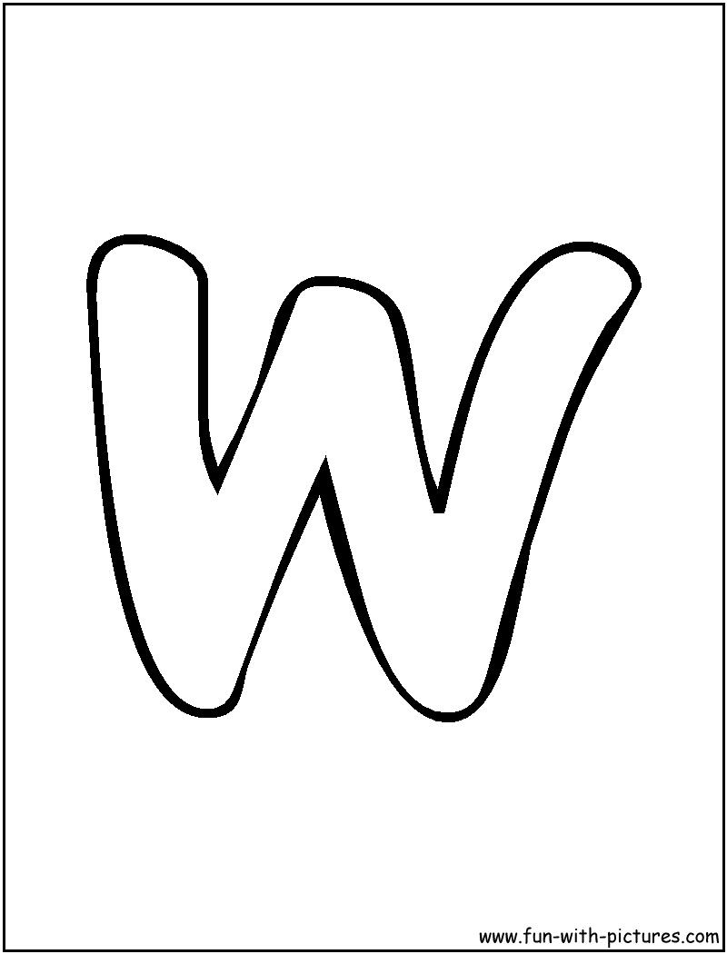 Bubble Letter W Coloring Page