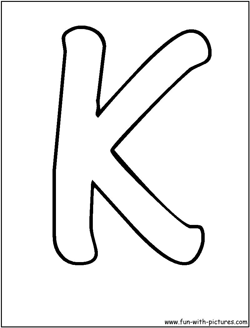 Bubble Letters K Coloring Page