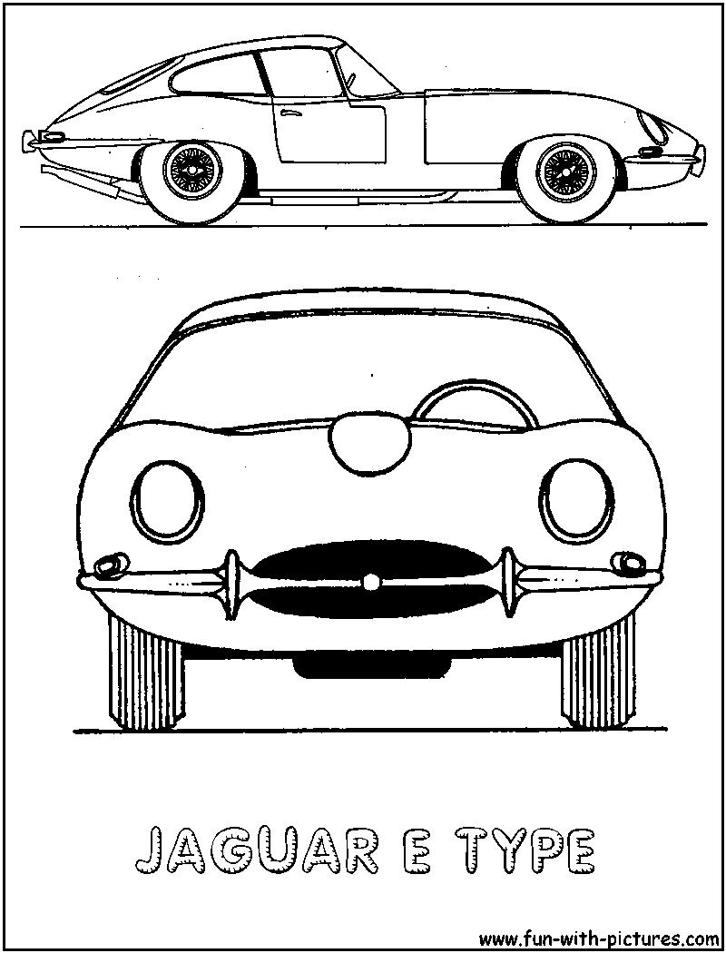Jaguar E Type Coloring Page