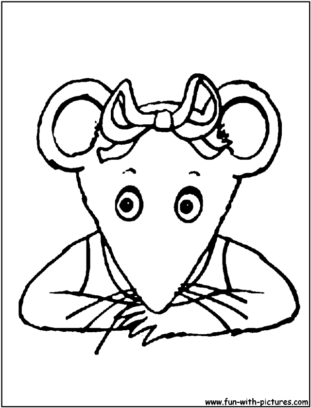 Pensive Angelina Ballerina Coloring Page