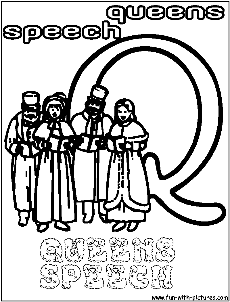 Q Queens Speech Coloring Page