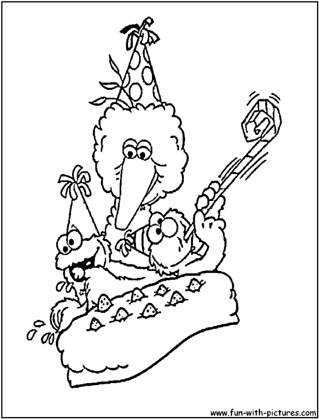 Sesame Street Birthday Coloring Page