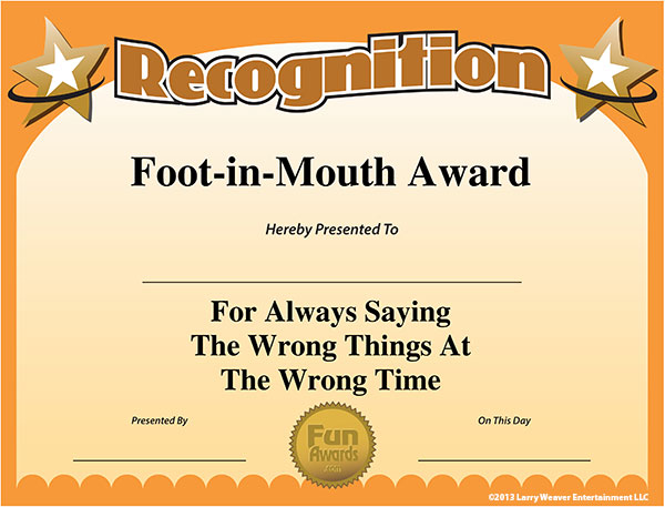 funny award ideas most