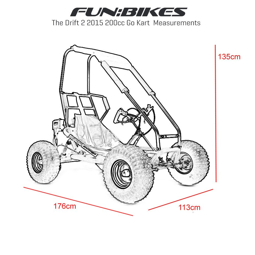 FunBikes The Drift 2 2015 270cc Petrol Black Roll Bar Go Kart