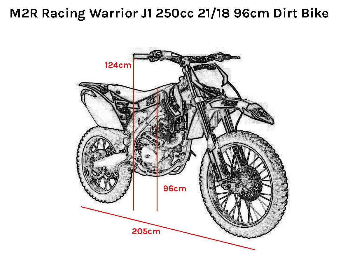 M2r Racing Warrior J1 250cc 21 18 96cm Dirt Bike