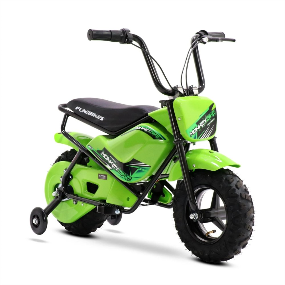 medium resolution of funbikes mb 43cm green 250w electric kids monkey bike in stock