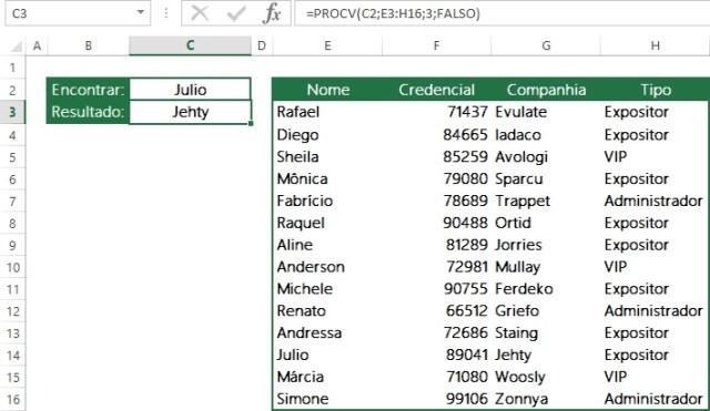 Encontrando dados em colunas usando ProcV-3