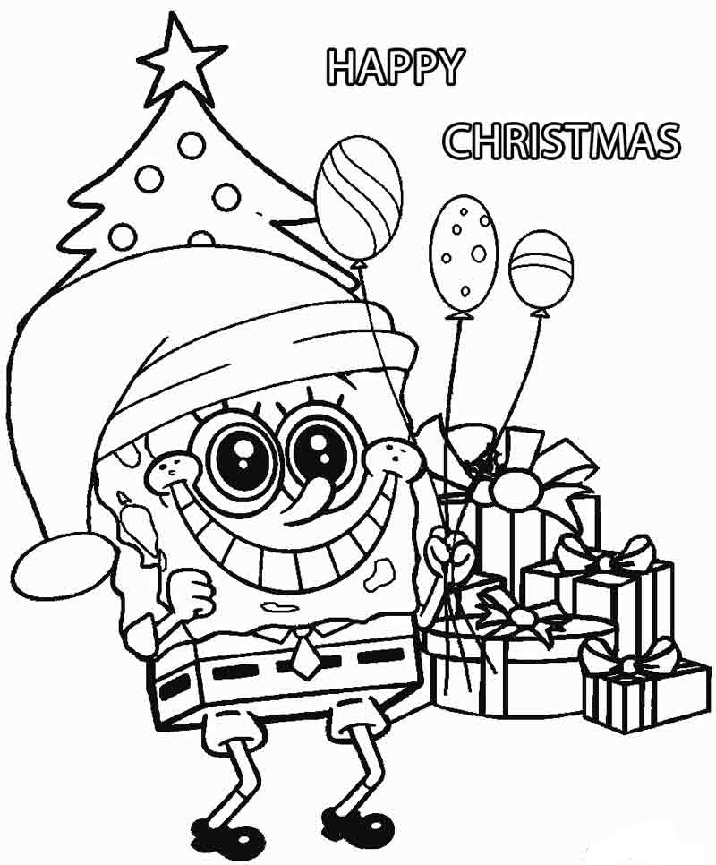 Cozy Spongebob And His Christmas Wish List Coloring Pages ...