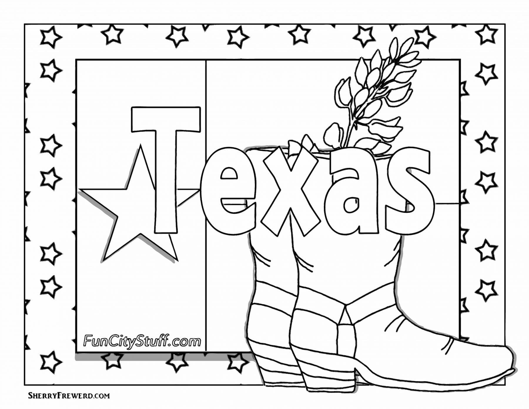 Texas Symbols Coloring Sheets