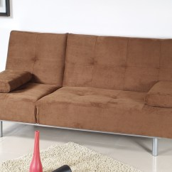 Brown Microfiber Sofa Bed Reclining Removable Back Trio By At Home Usa